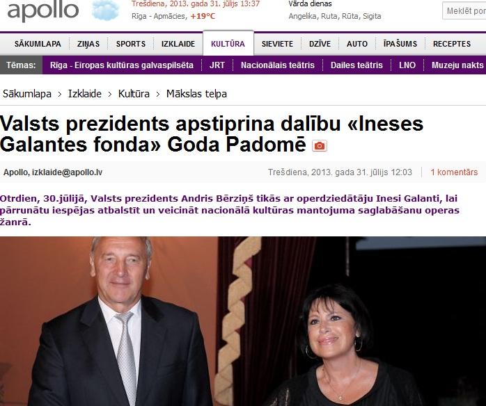 inese galante president latvija riga 2013