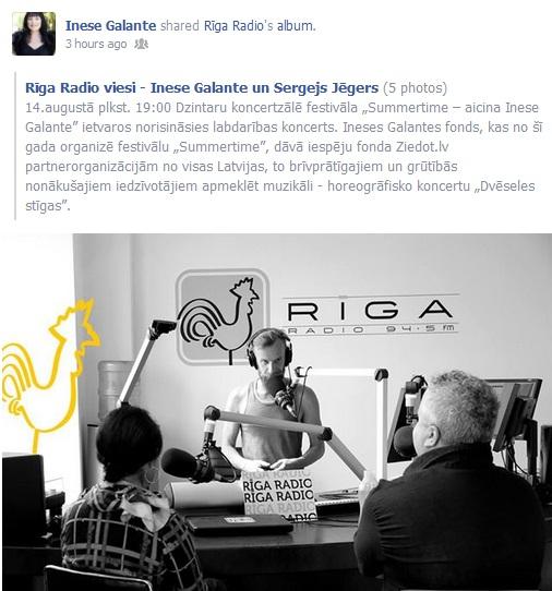 Rīga Radio viesi - Inese Galante un Sergejs Jēgers 2013